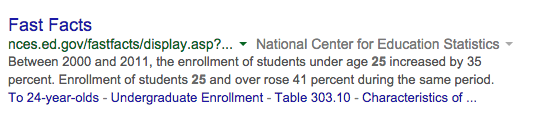 Screenshot of bolded answer in a normal organic result.