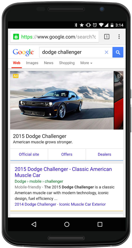 A screenshot of Google's new ad format for automotive businesses.
