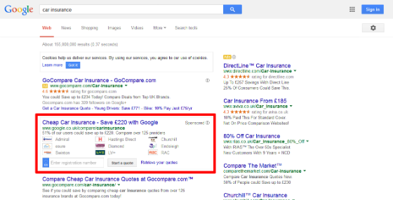 Google's ad for its own car insurance comparison services in the UK.