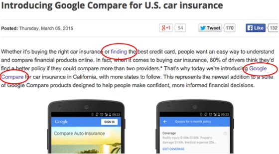 Google's car insurance blog after the anchor text was changed.