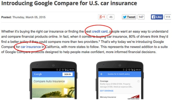 Google's car insurance blog before the anchor text was changed.