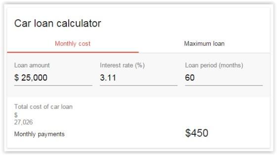 Google Car Loan Calculator