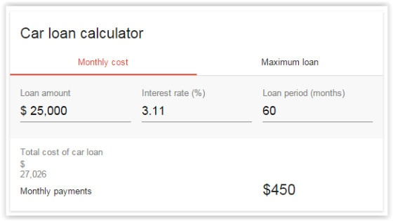 Google Car Loan Calculator