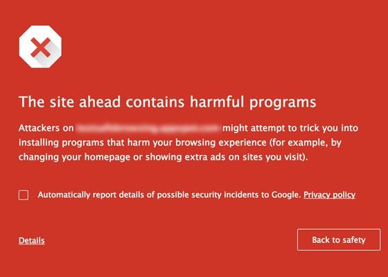 Google Chrome malicious software warning.