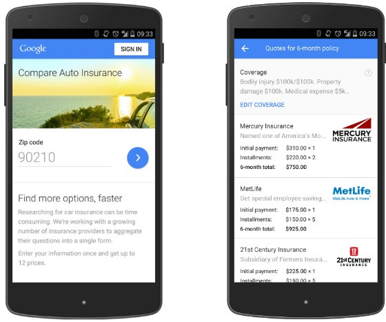 Screenshot of Google Compare for car insurance in the US.