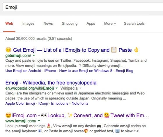 The full-colour emojis on Google desktop search.