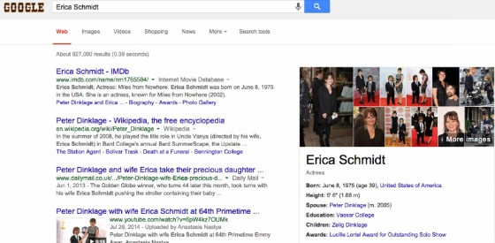 A Google search for 'Erica Schmidt', showing correct Knowledge Graph results.