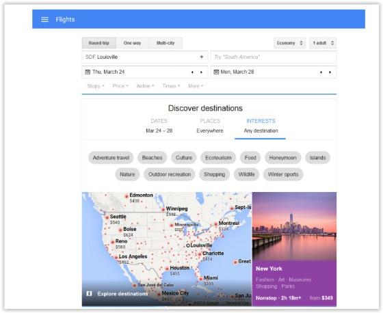 Google Flights search