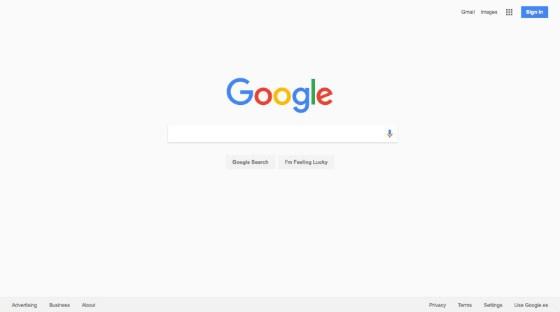 Google gray home page