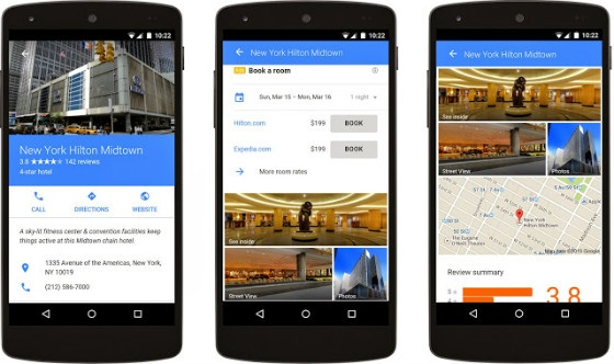 Screenshots of Google's ad format for hotels.