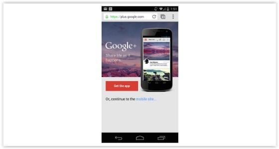 Google+ Interstitial Ad
