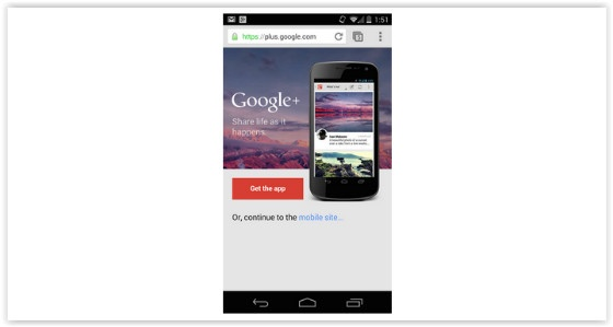Google+ Interstitial Ad