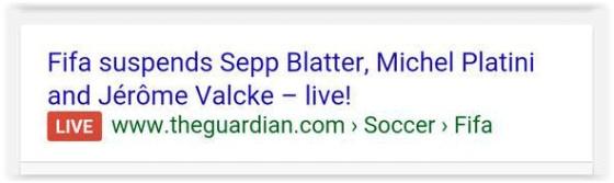 Google LIVE label