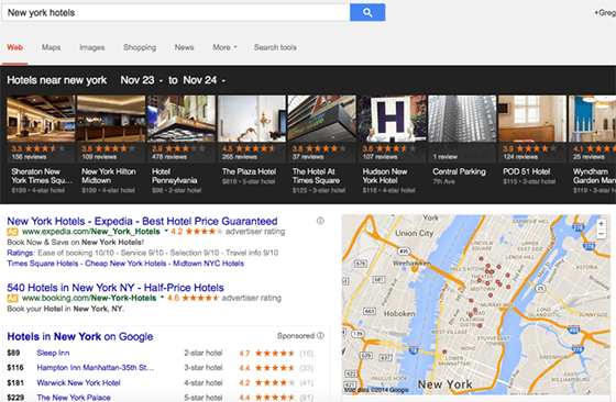 An example of Google's local carousel results.