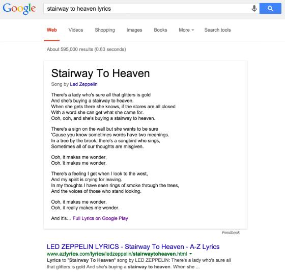 Google's lyrics search answer box.