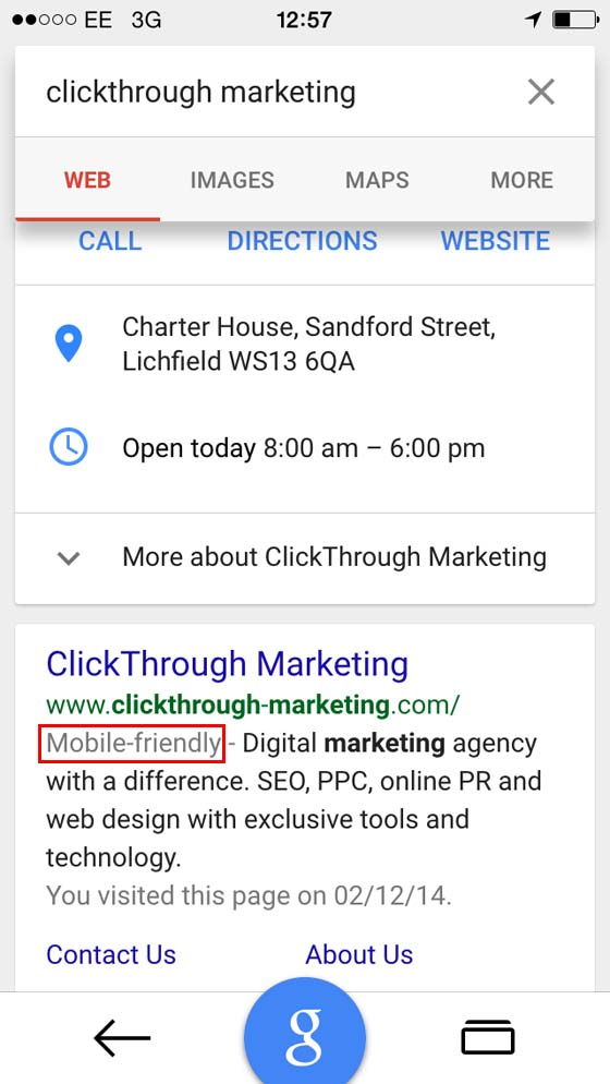 An example of Google's mobile friendly labels on a UK mobile search.