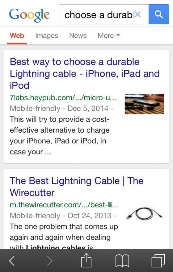 Google mobile search image thumbnails.