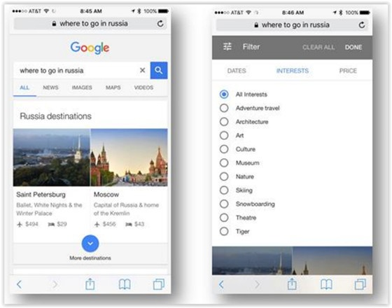 Google Mobile Travel Search