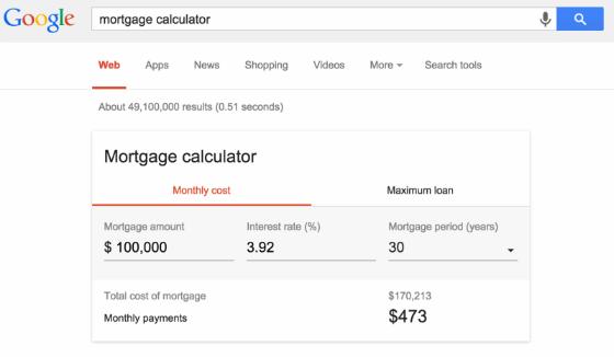 Google's new mortgage calculator tool.