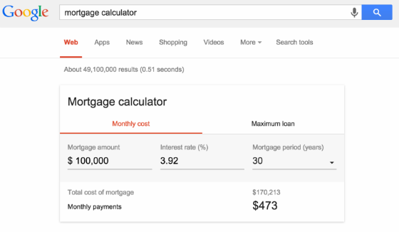 Google's new mortgage calculator tool.