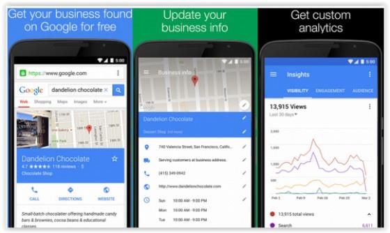 Google My Business App screen shots