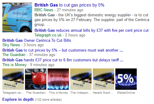 Google News results with images.