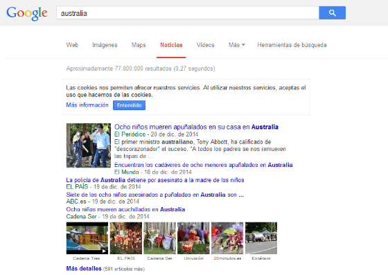 A Google News search in Spain, working correctly.