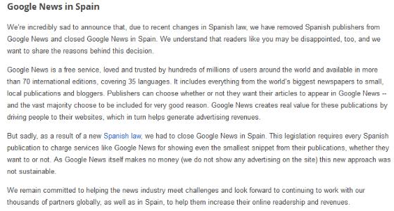 Google's notice of Google News' closure in Spain.