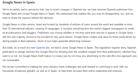 Google's notice of Google News' closure in Spain.