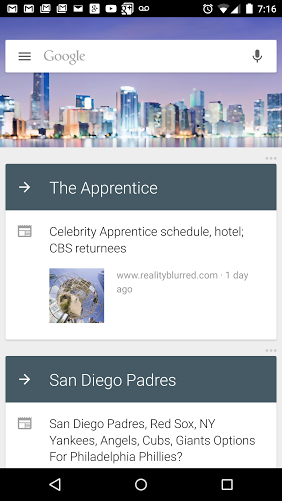Google Now's new context-specific backrounds.
