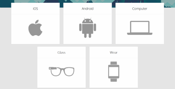 Platforms supported by Google Now, screenshot.