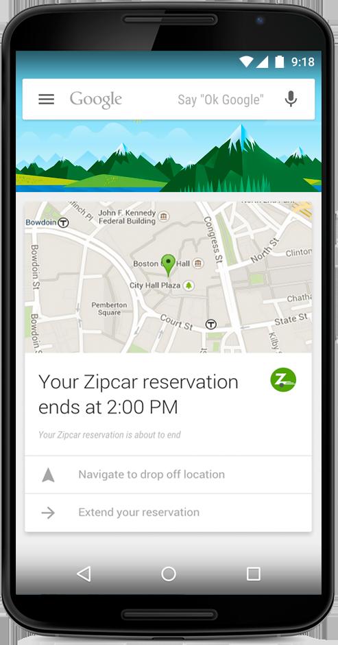 A mockup of a Google Now Zipcar card.
