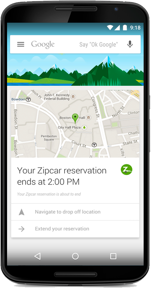 A mockup of a Google Now Zipcar card.