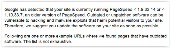 Google PageSpeed message