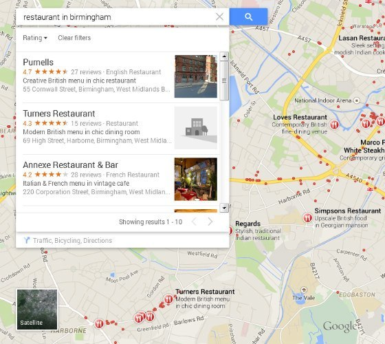 Post-Pigeon Maps results for 'restaurant in Birmingham'.