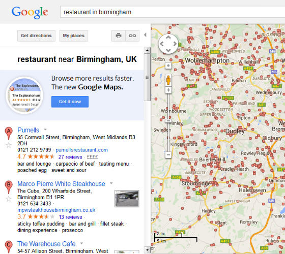 Local results for 'restaurant in Birmingham' on old UK map search.