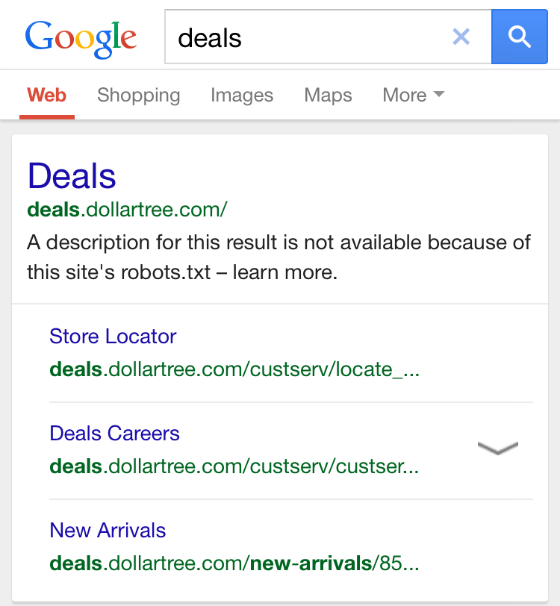An example of a page with a blocked meta description in mobile search. The message reads 'A description for this result is not available because of this site's robots.txt'.