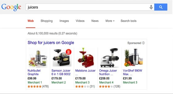Examples of the rating stars on Google Shopping Ads.