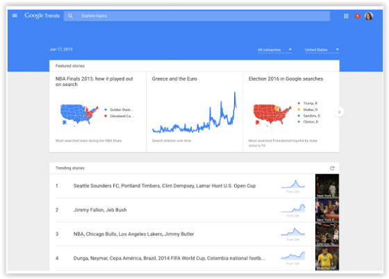 Google.com/trends homepage