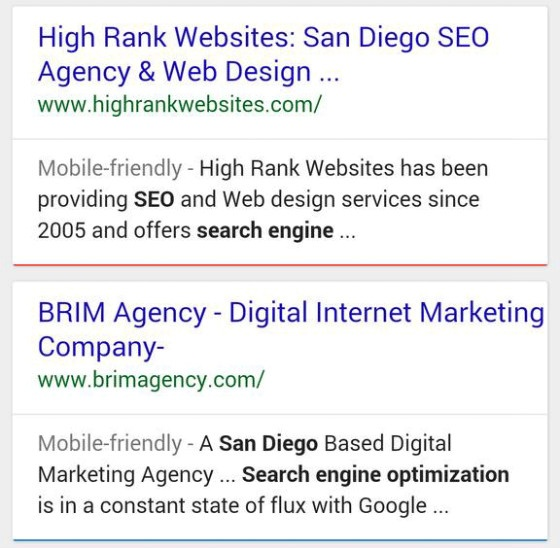 Google's mobile search experiment, with line breaks added after URLs in search results.