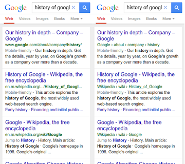 Before and after image of URL structure in Google mobile search.
