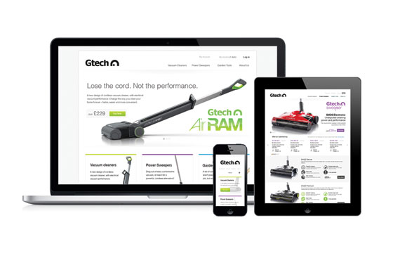 Gtech's responsive website displayed on several devices.