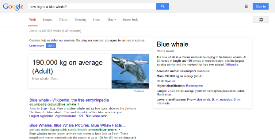Google's answer box for the query 'how big is a blue whale?'.