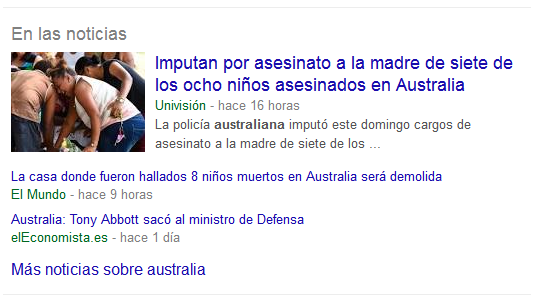 'In the news' pullout in organic search on Google.es.