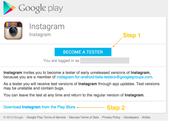 Instagram testers sign-up page.
