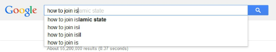 'How to join Islamic State' autosuggestion.