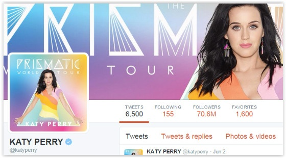 Katy Perry's Twitter page