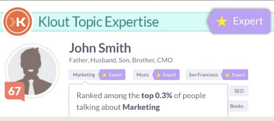 Klout's new expertise badges.