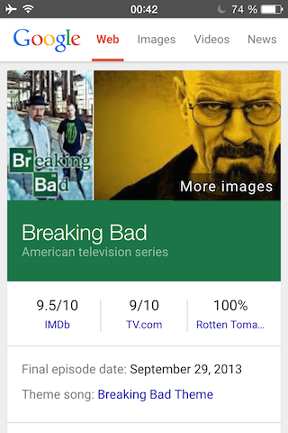 Colourful Knowledge Graph card for the TV show Breaking Bad.