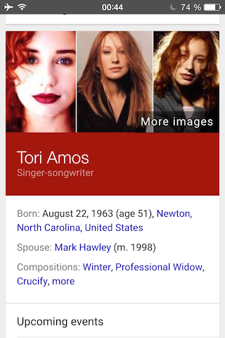 Colourful Knowledge Graph card for the singer Tori Amos.